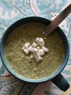 Broccoli leek soup in an oversized mug