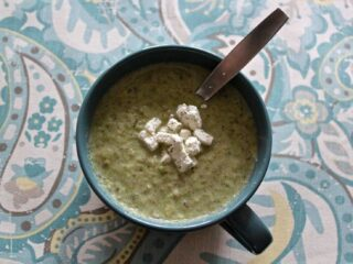 Broccoli leek soup in an oversized mug