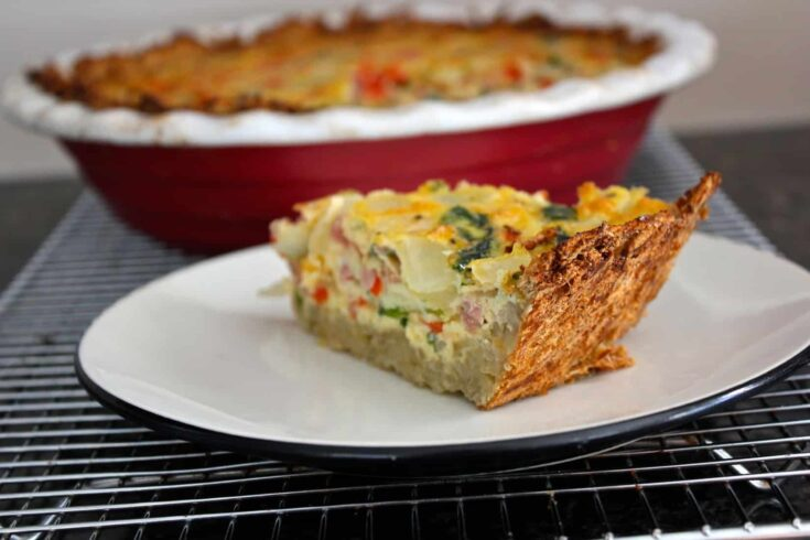 Ham and Spinach Quiche With Potato Crust