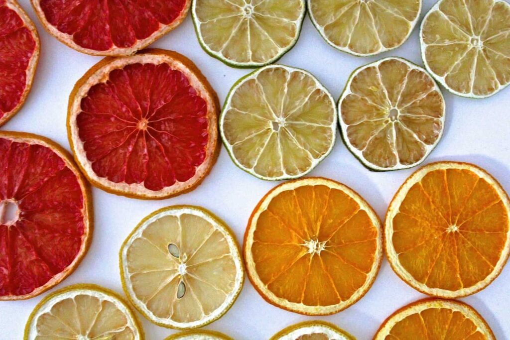 Dehydrated citrus slices.