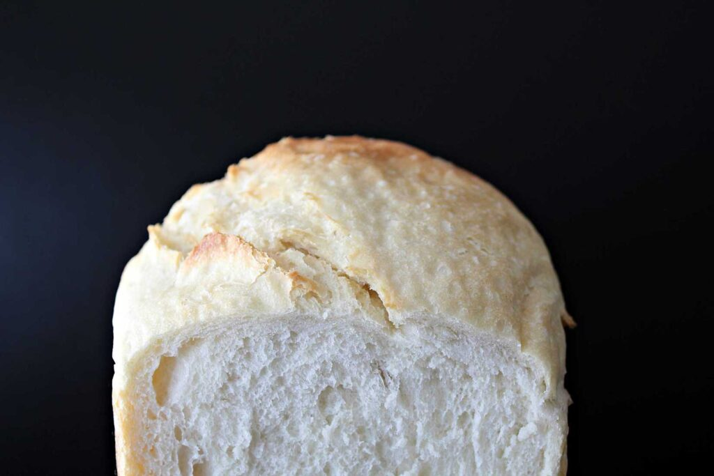 Cross section of bread machine bread.