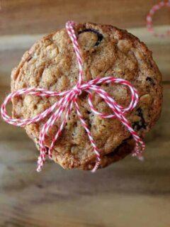 Overhead veiw of craisin oatmeal cookies.