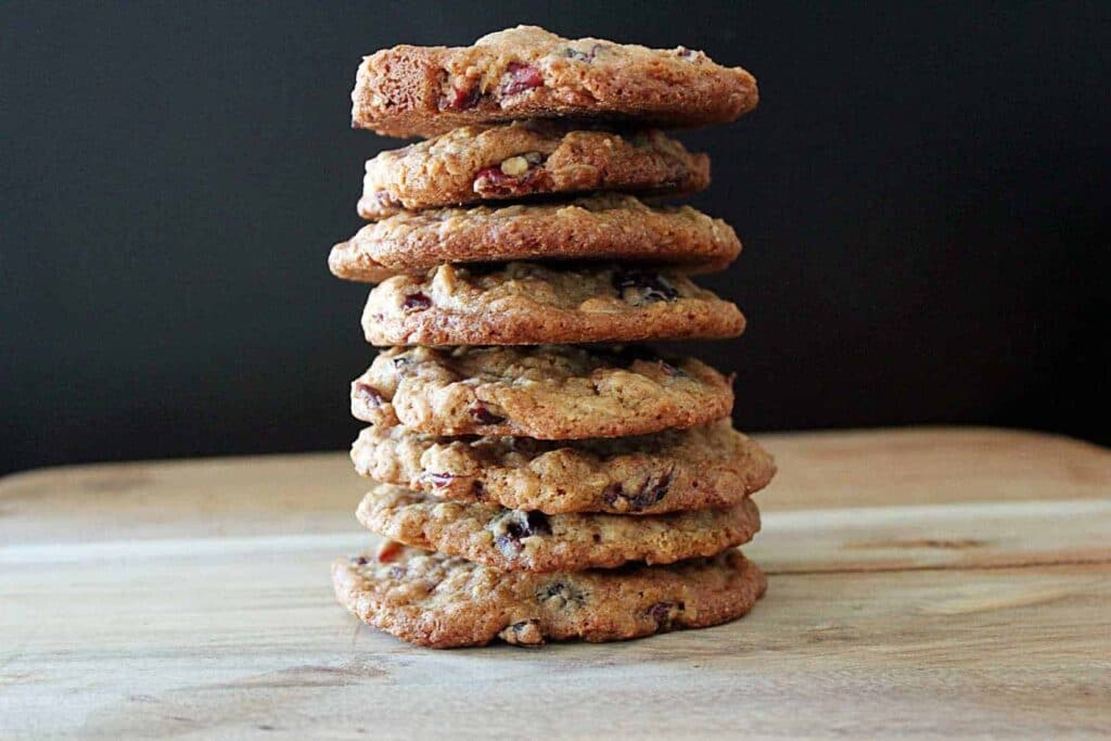 Stacked oatmeal craisin cookies.