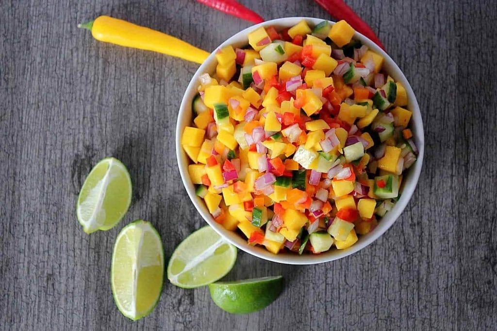 Cucumber mango salsa in a bowl.