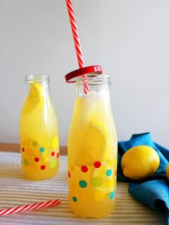 Instant pot lemonade in a polka dot jar.