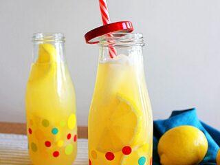 Instant pot lemonade in a polka dot jar.