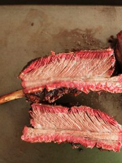 Sliced root beer smoked Traeger beef ribs.