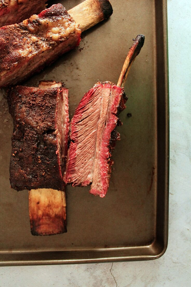 Two root beer smoked beef ribs.