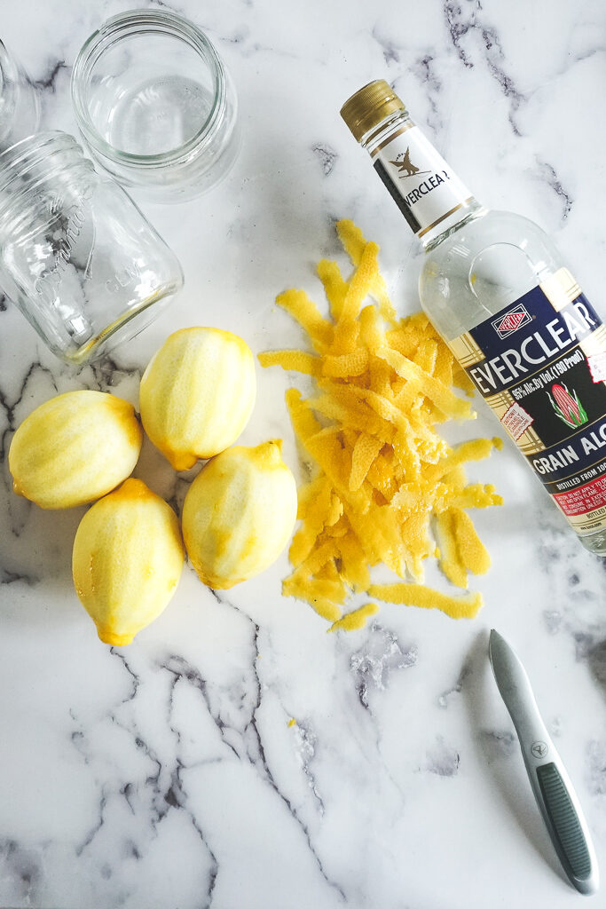4 peeled lemons and a bottle of everclear.
