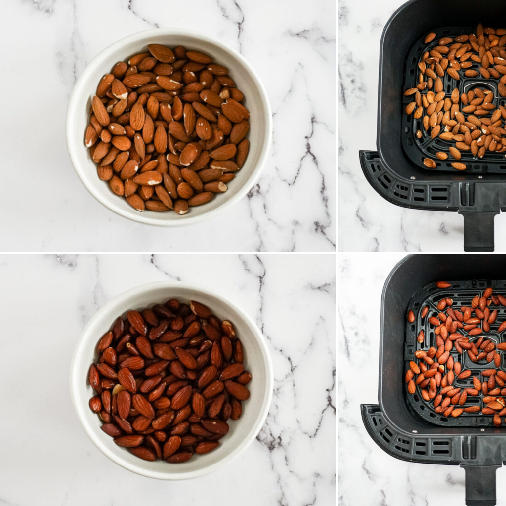 Collage of images of air fryer roasted almonds.