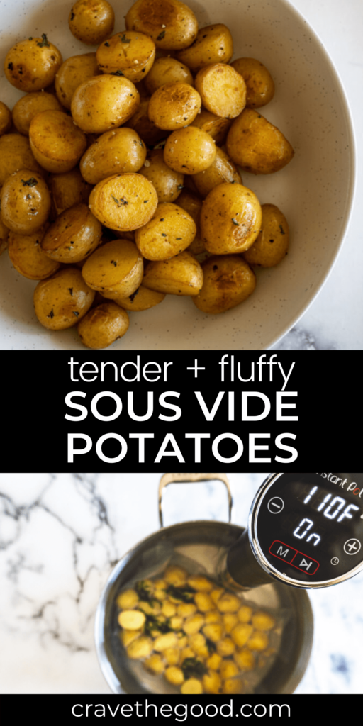 tender and fluffy sous vide potatoes pinterest graphic.