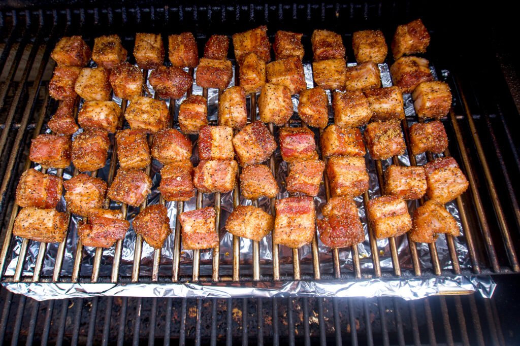 Pork belly cubes after being smoked.