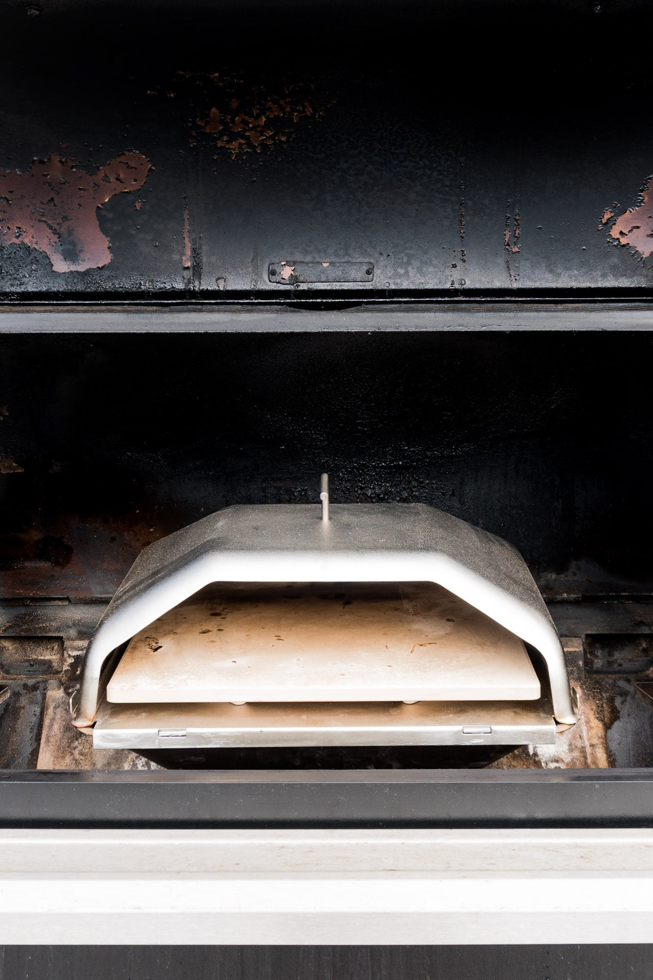 Green Mountain Grills Pizza oven in a Traeger Timberline