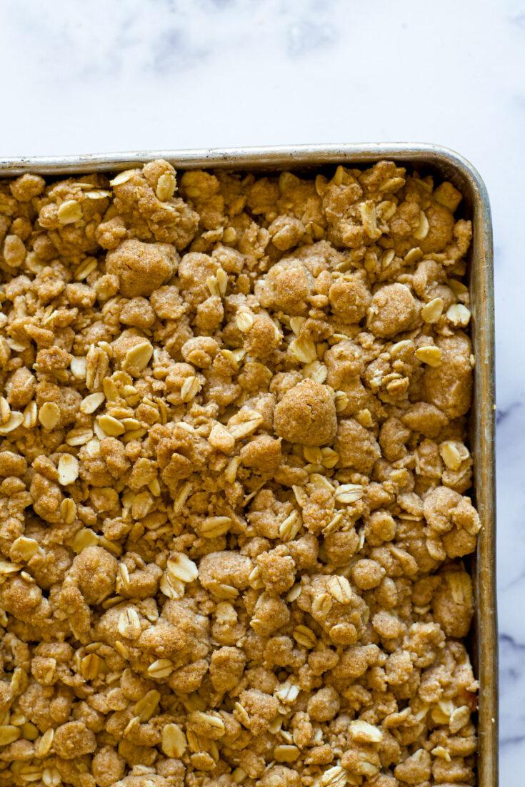 Overhead view of apple crisp in a pan.