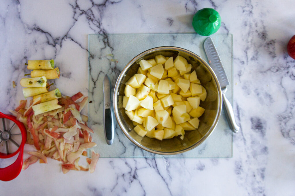 Chopped apples in a bowl.