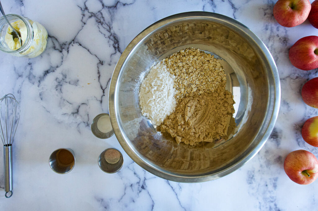 Dry ingredients in a large bowl.