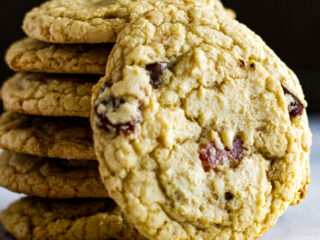 A stack of bacon chocolate chip cookies.
