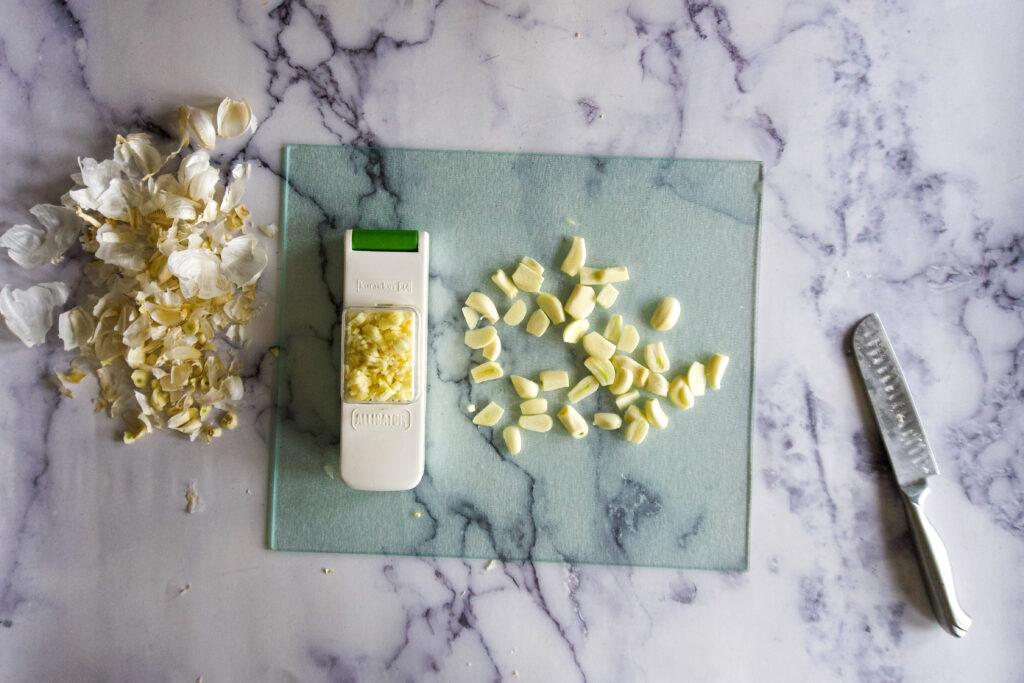 Half way through mincing the garlic.