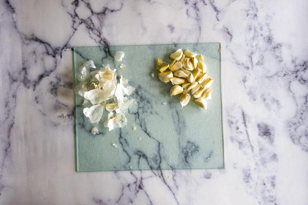 Split garlic cloves.