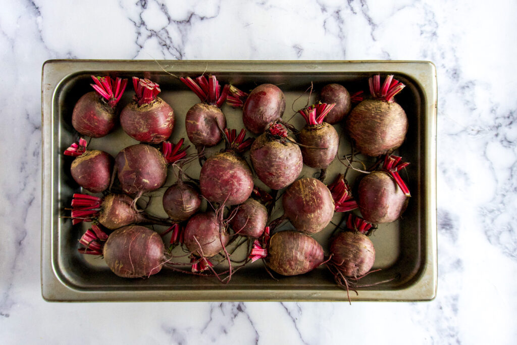 Beets in a pan.