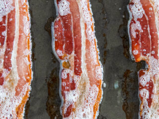 Perfectly cooked bacon strips.