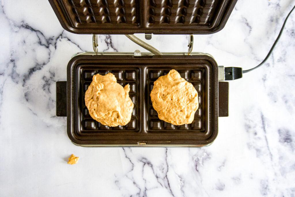 pumpkin waffles in vintage waffle iron.