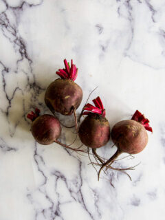 Fresh beets on a table.