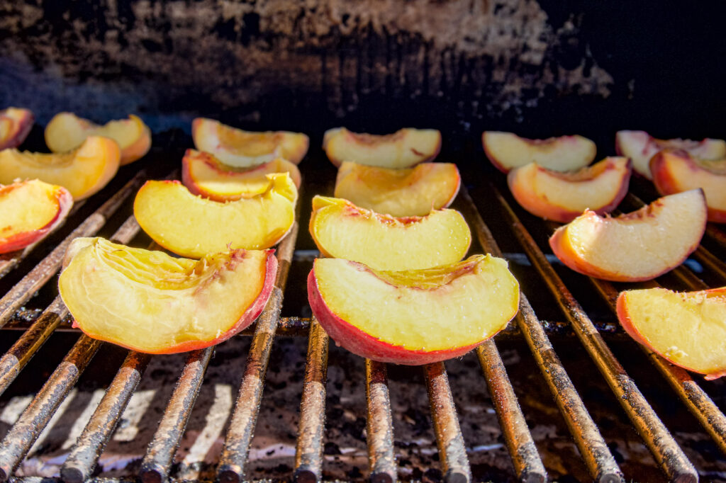 Peaches fresh on the smoker.