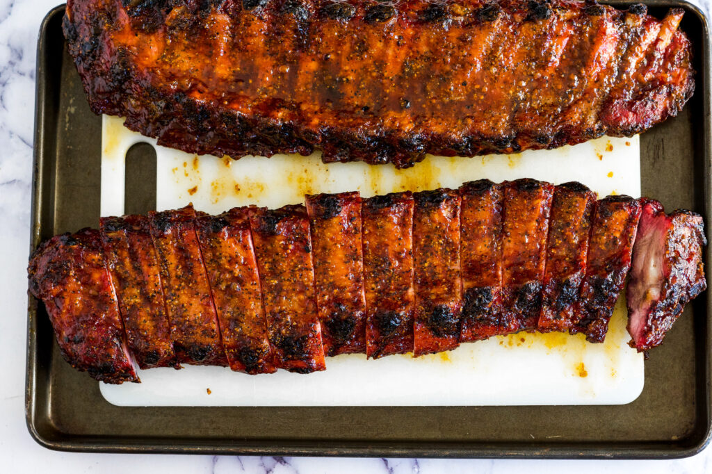 Sliced rack of ribs