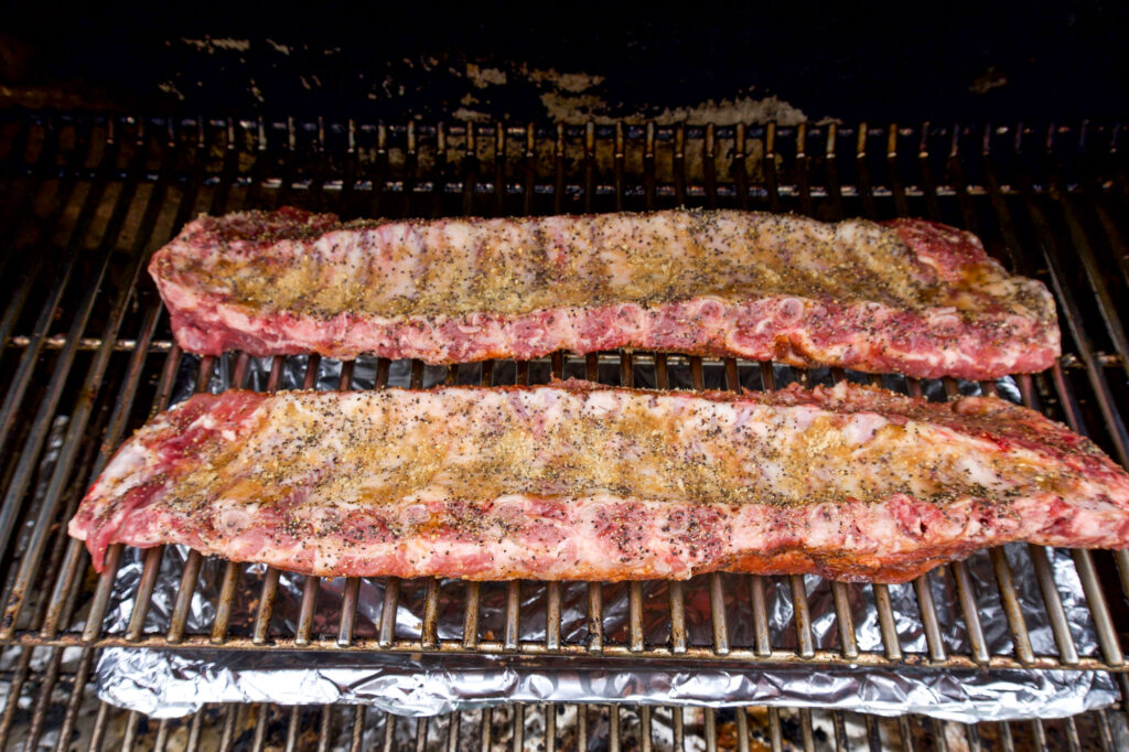 Ribs on the smoker.