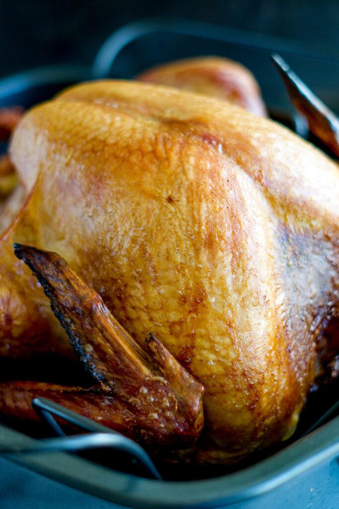 Golden skinned smoked turkey.