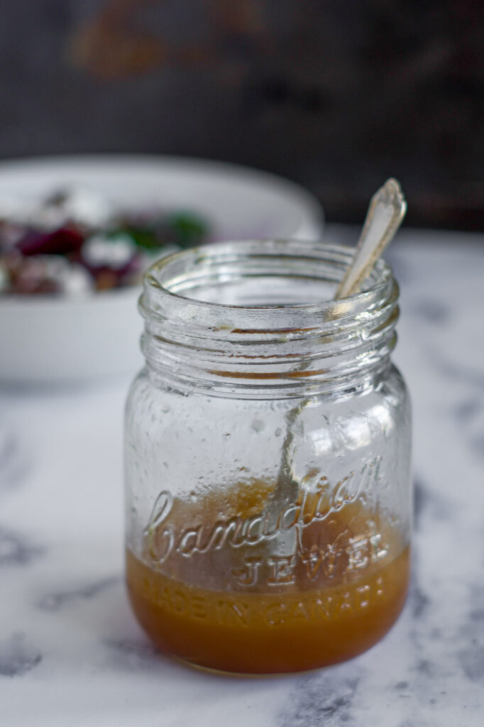 Brown sugar vinaigrette in a jar.