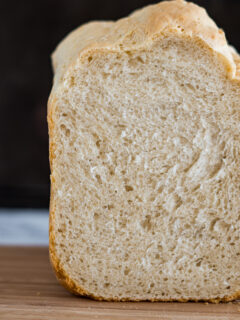 Showing a cross section of the bread crumb.