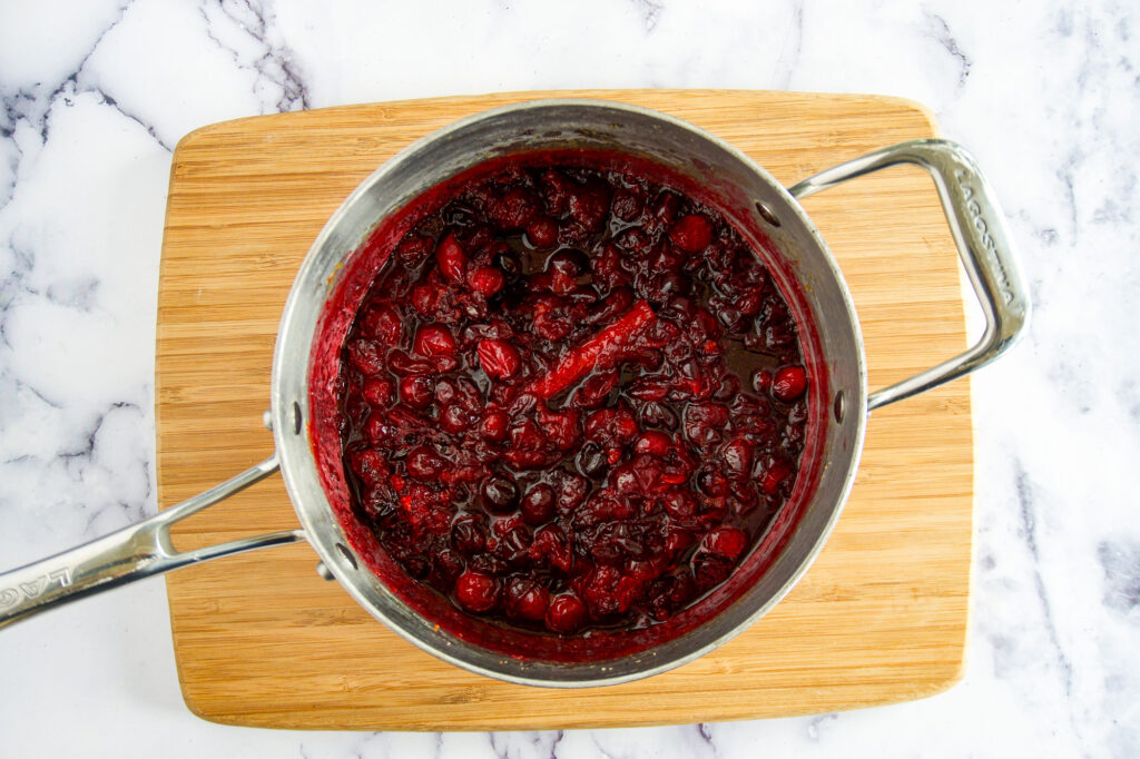 Completely simmered cranberry sauce.