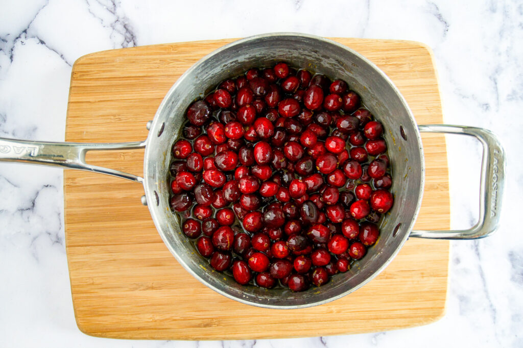 Cranberry sauce as its starting to cook.