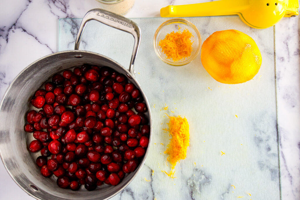 Pot filled with cranberries.
