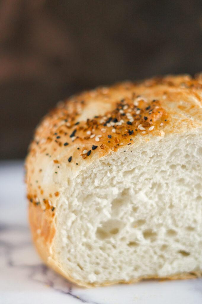 Sliced bagel bread.