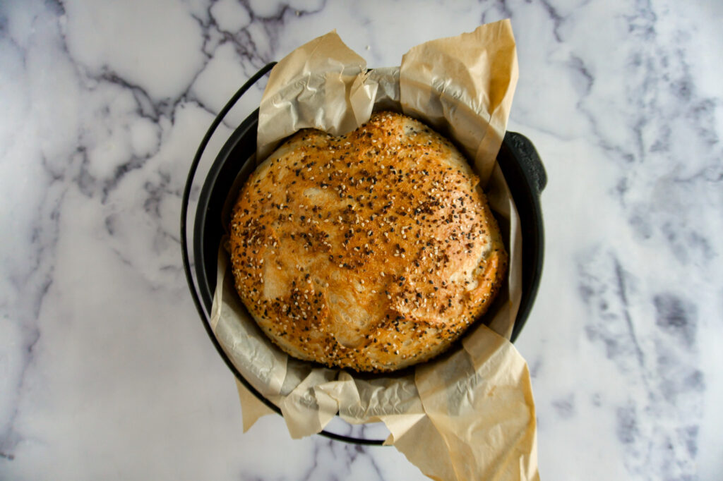 Everything bagel bread fully cooked.