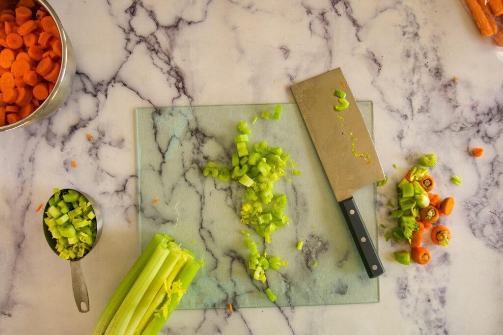 Chopped celery.