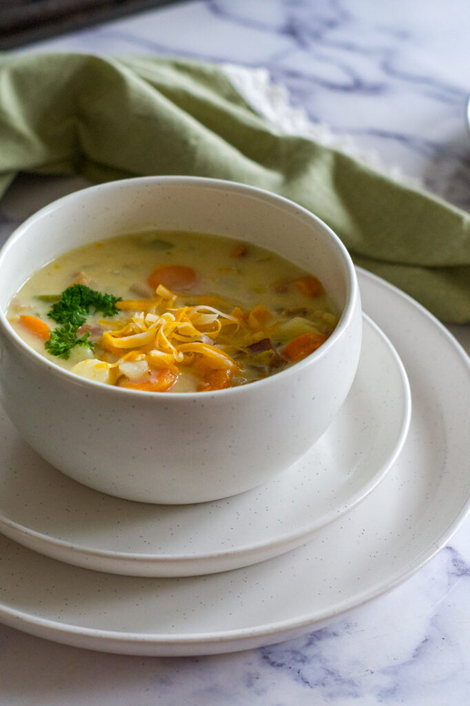A bowl of soup.