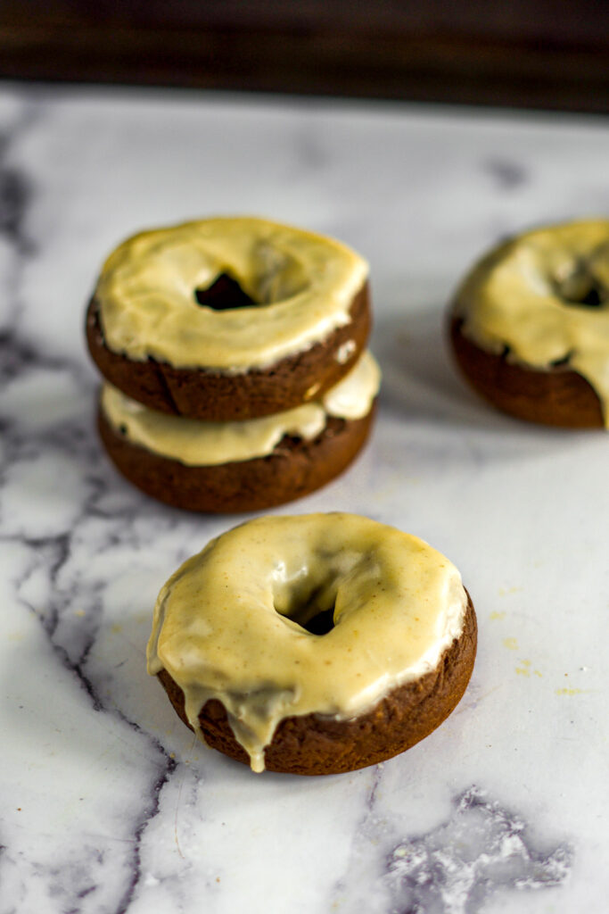 4 scattered pumpkin cake mix donuts