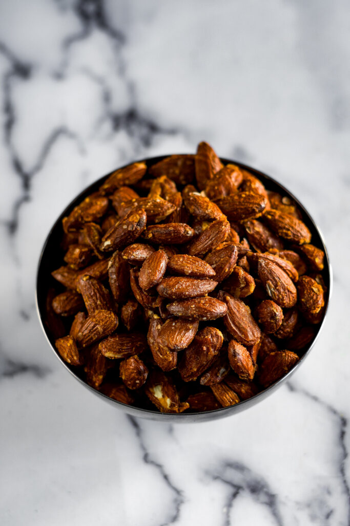 Overhead look at the sweet and spiced smoked almonds.