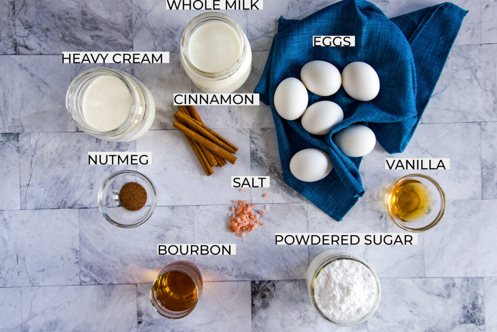 Snapshot of all the ingredients required for this eggnog recipe.