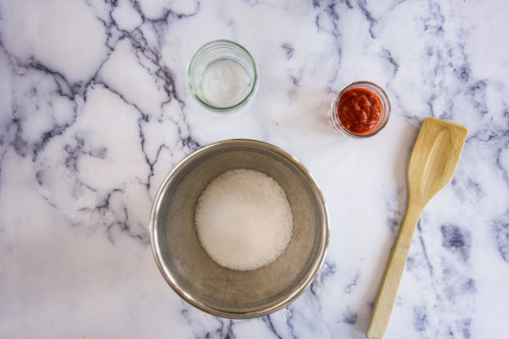 Salt poured into the bowl.