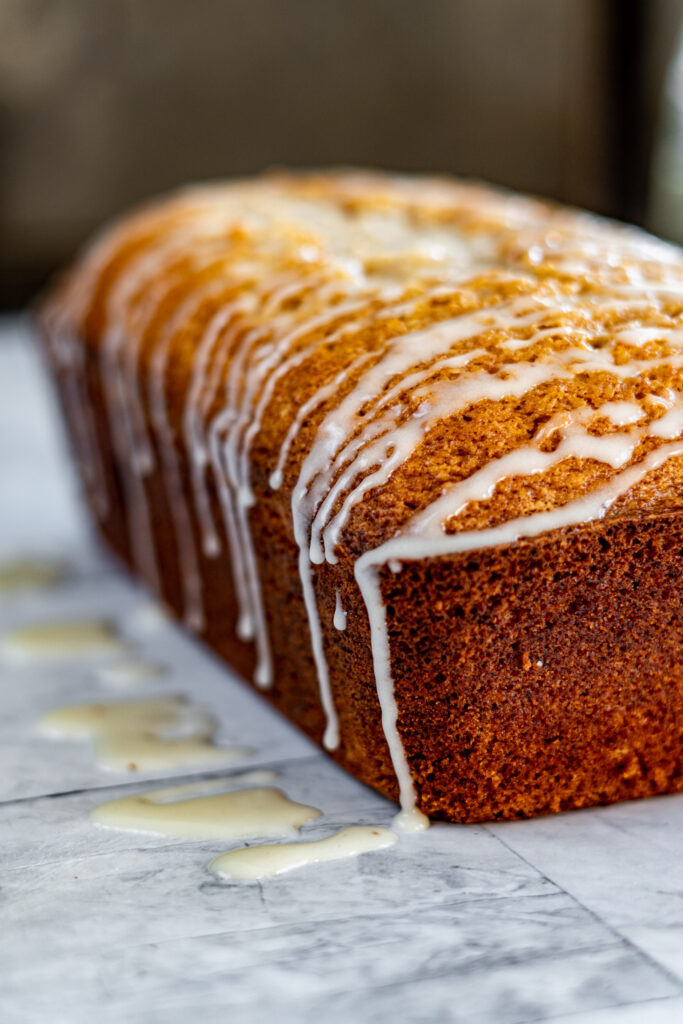 Glazed eggnog loaf.