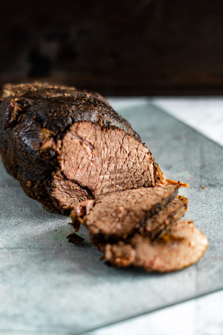 Sliced cross rib roast.