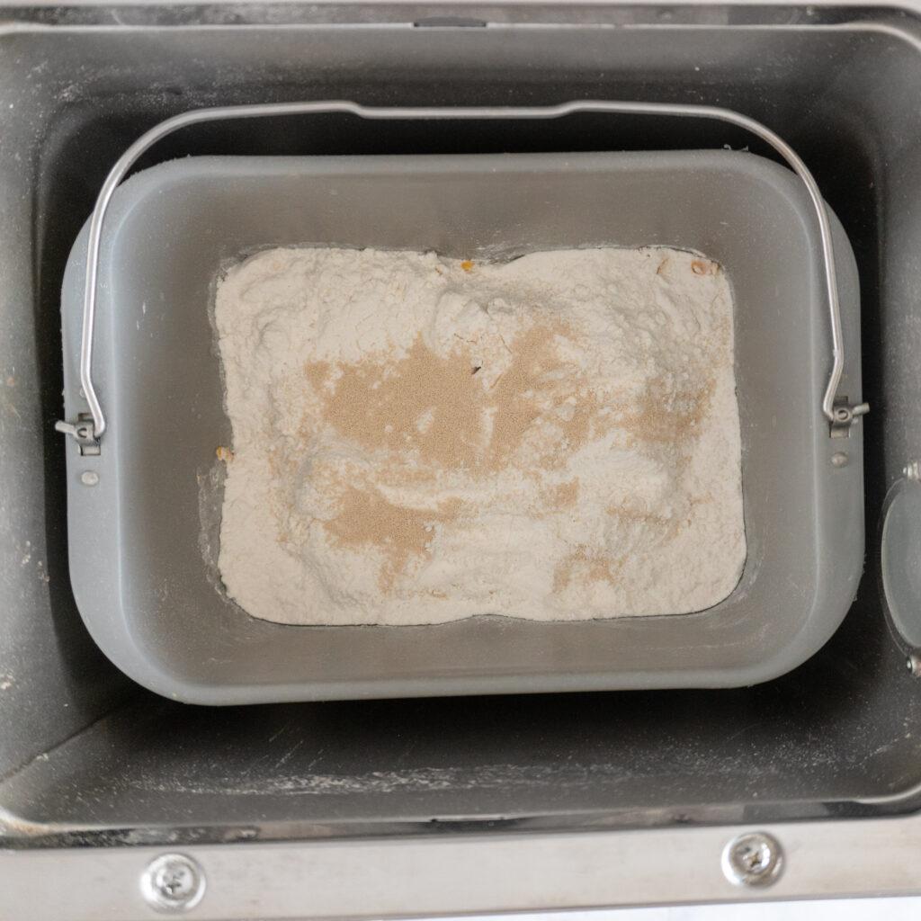 Bread pan in bread machine.
