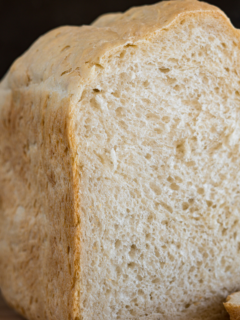 Cross section of a slice of bread machine bread.