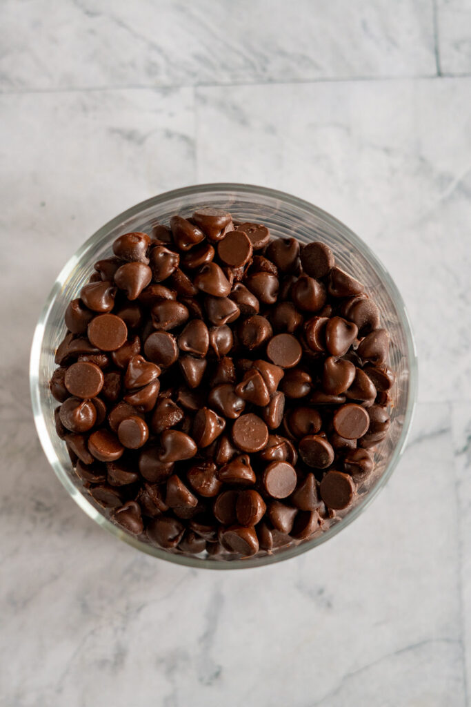 smoked chocolate chips in a glass jar.