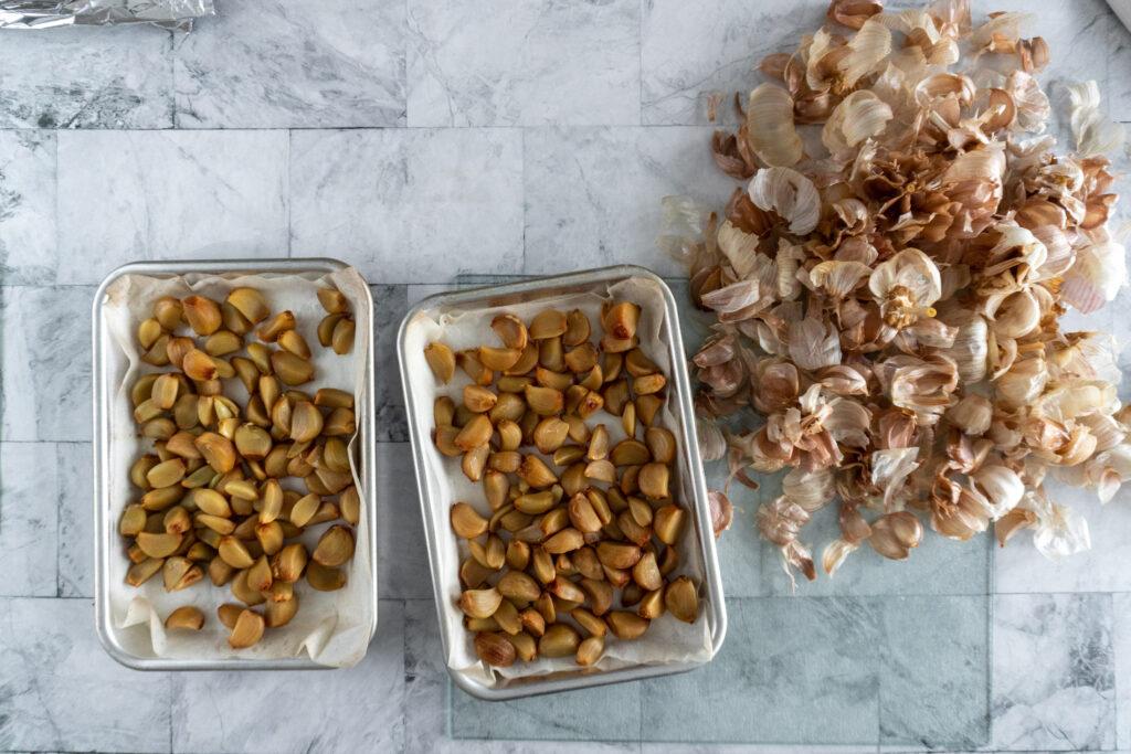 Fully peeled and ready to free garlic cloves.